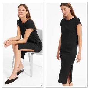 Everlane Black Luxe Cotton Side Slit Tee Dress L
